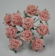 1 cm PALE PINK Mulberry Paper Roses